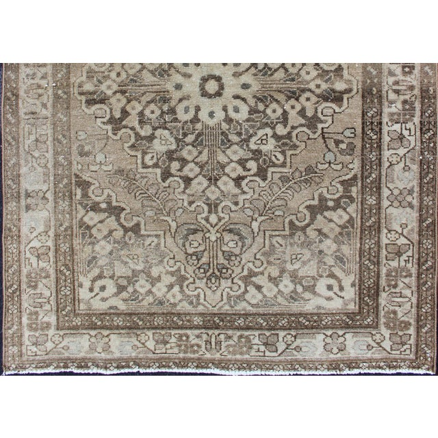 Persian Neutral Tone Vintage Persian Lilihan Rug With Medallion For Sale - Image 3 of 13