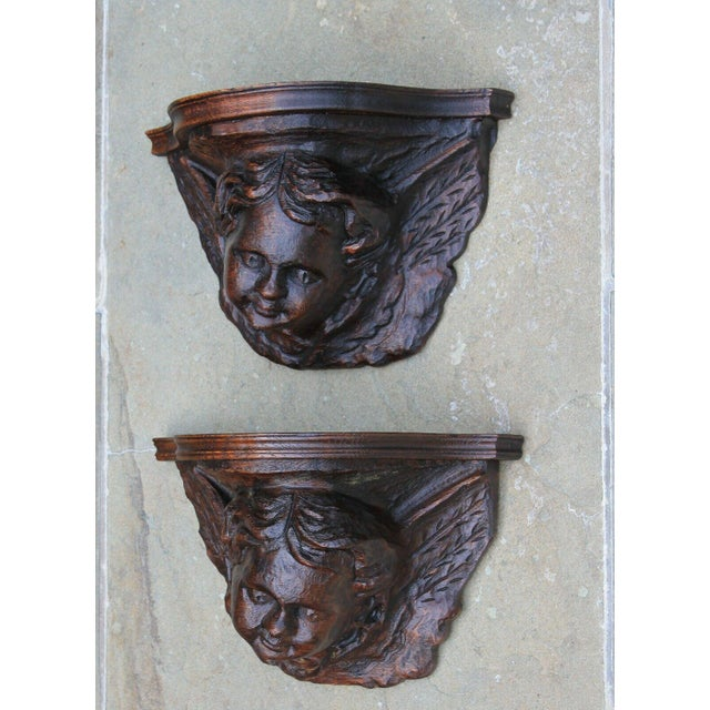 Pair Antique French Oak Wall Shelves Corbels Angels Cherubs Gothic Victorian For Sale - Image 4 of 13