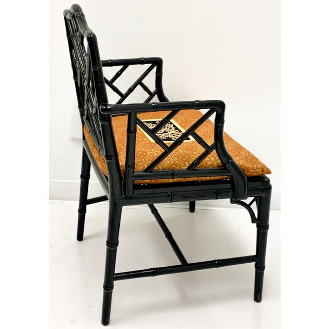 Asian Chinese Chippendale Style Faux Bamboo Arm Chair For Sale - Image 3 of 6