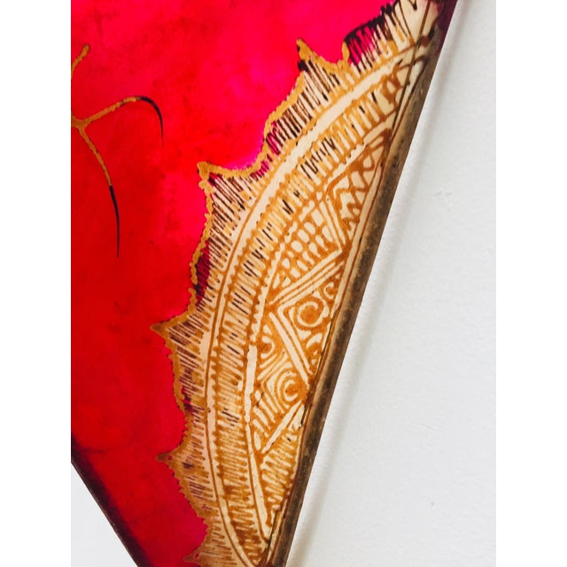 African African Tribal Art Parchment Wall Shade Sconces in Red and Tan - a Pair For Sale - Image 3 of 13