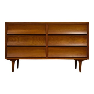 Johnson Carper Walnut Long Dresser For Sale