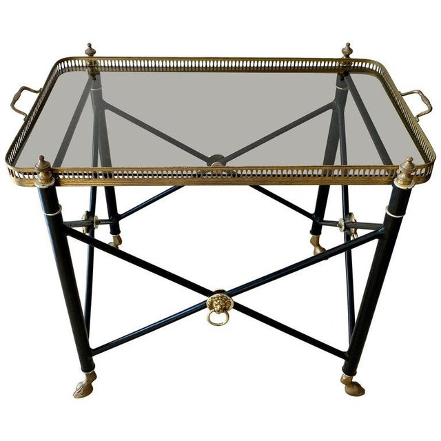 Italian Glass Tray Table With Brass Lion Detailing For Sale - Image 10 of 10