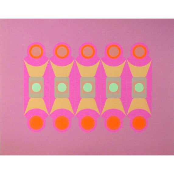 Mid-Century Modern 1969 Arthur Boden Pink Pattern Print For Sale - Image 3 of 3
