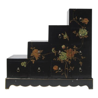Asian Black Color Peony Flower Graphic Leather Surface Tansu Display Cabinet