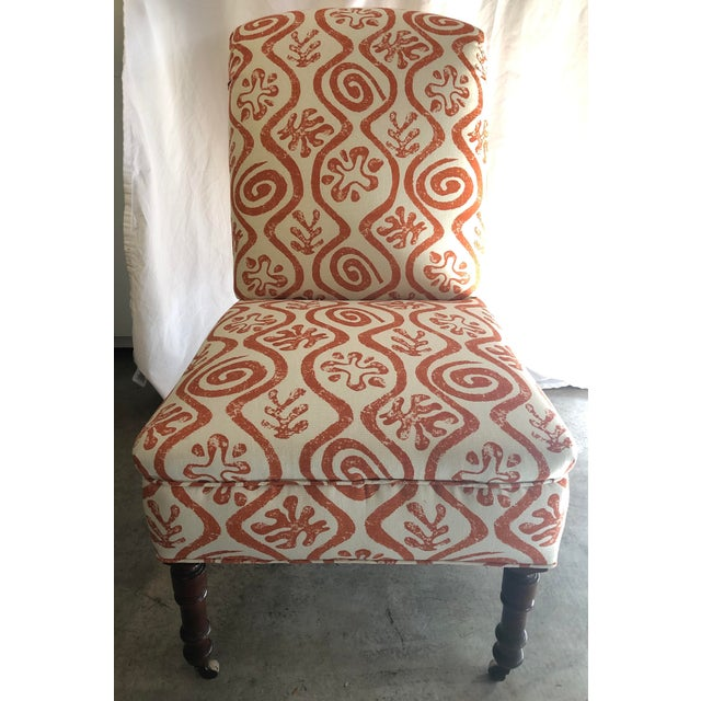 1940s Antique Parlor Chair Newly Reupholstered in Peter Fasano Fabric For Sale In San Francisco - Image 6 of 6