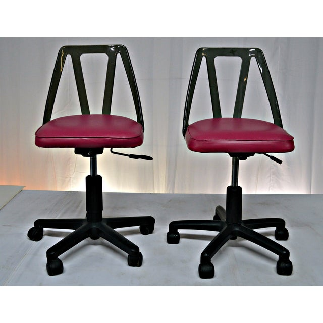 Vintage Smoked Lucite Office Chairs - Pair - Image 4 of 9