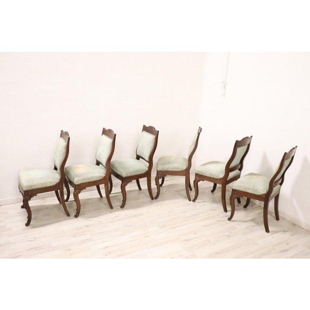 19th Century Italian Carved Mahogany Charles X Six Chairs For Sale - Image 6 of 13