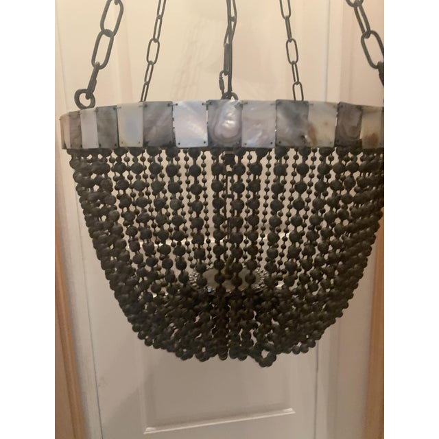 2010s Noir Grey Beaded Chandelier With Grey and White Shell Trim For Sale - Image 5 of 13