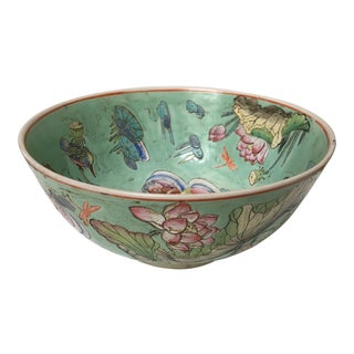 Large Hand Painted Chinese Bowl With Birds, Lily Pads & Dragonflies