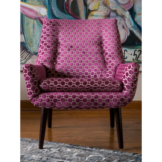 "Mid-Century ""Mrs. Godfrey"" Magenta Upholstered Chair For Sale In Portland, OR - Image 6 of 6"