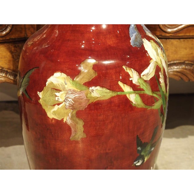 Grand Antique French Barbotine Vase, Parisian School Late 1800s For Sale - Image 11 of 12