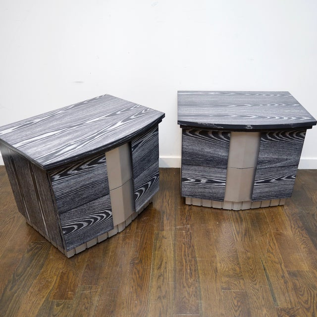 Metal Pair of Cerused End Tables/Night Tables For Sale - Image 7 of 11