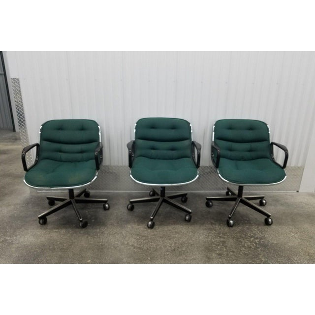 1980's Mid-Century Modern Knoll Charles Pollack Cloth Office Chairs - Set of 3 For Sale - Image 10 of 10