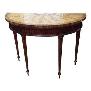 Traditional Hickory Chair Co. Mahogany and Satinwood Demilune Table For Sale