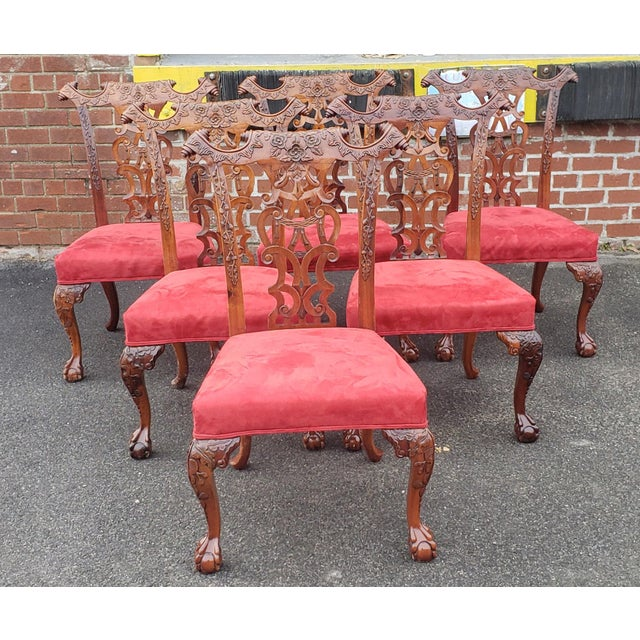 Red 1980s Vintage Heavily Carved Mahogany Chippendale Style Dining Room Side Chairs- Set of 6 For Sale - Image 8 of 13