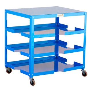 Industrial Rolling Paper, Board and Utility Cart, Refinished in Blue For Sale
