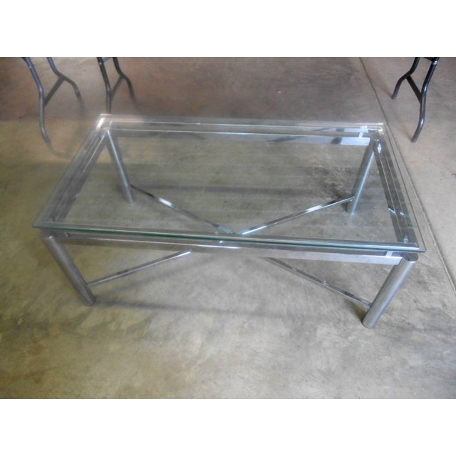 Vintage Mid-Century Modern Chrome & Floating Glass Top Coffee Table For Sale - Image 9 of 9