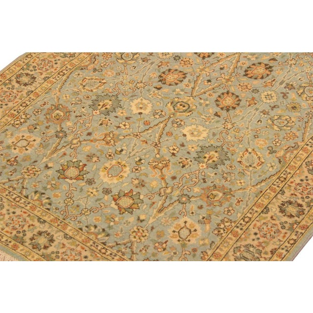 Shabby Chic Istanbul Archie Blue/Ivory Turkish Hand-Knotted Rug -3'1 X 5'0 For Sale In New York - Image 6 of 8