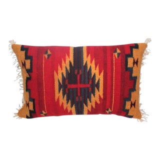 Bold Navajo Indian Weaving Pillow with Fringe For Sale
