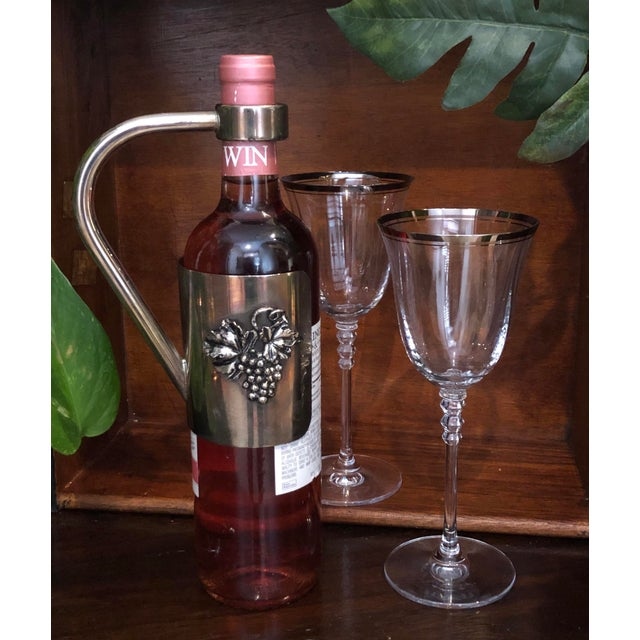 2000 - 2009 Vintage Silver Plated Wine Holder Velvet in Handle Caddy and Grape Decoration For Sale - Image 5 of 13