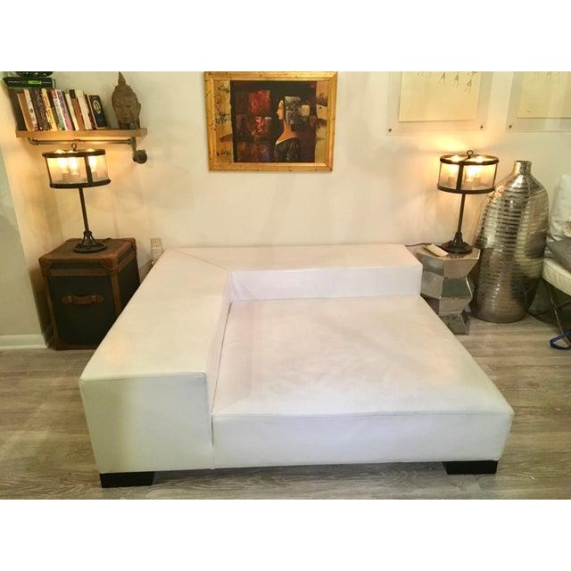 Modern White Leather Minimal Square Sofa - Image 3 of 10
