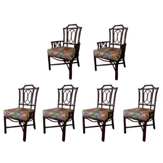 Ficks Reed Pagoda Chippendale Dining Chairs- Set of 6 For Sale