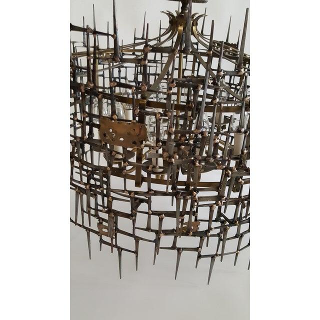 2010s Welded Bronze & Nails Metal Chandelier For Sale - Image 5 of 11