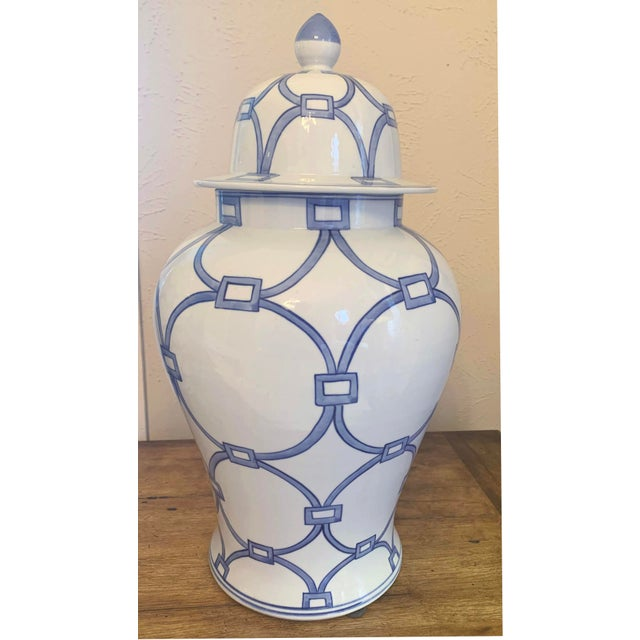 Gorgeous Classic Blue and White Porcelain Temple Jar. The pattern on this jar is called Lover's Lock. This piece was made...