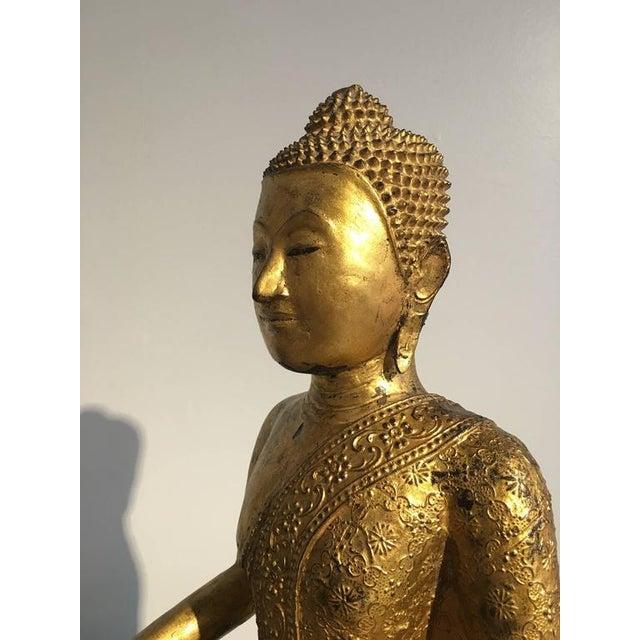 Gold Thai Rattanakosin Lacquered Gilt Bronze Image of Buddha Maravijaya For Sale - Image 8 of 10