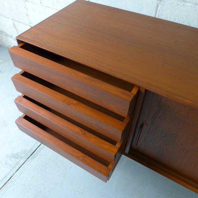 Brown Teak Mid Century Modern CREDENZA media stand For Sale - Image 8 of 10