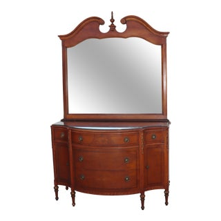 1940s Mahogany 5 Drawer and 2 Door Dresser With Mirror For Sale