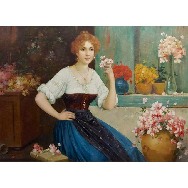 """American Luis Doret """"The Beautiful Flower Girl"""" Oil Painting, 19th Century For Sale - Image 3 of 11"""