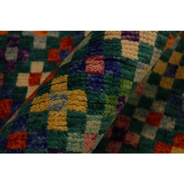 "1990s Balouchi Ali Green/Ivory Wool Rug - 4'11"" X 6'4"" For Sale - Image 5 of 8"
