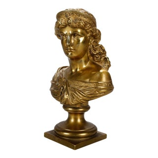 Late 19th Century Classical Roman Gilt Bronze Bust of a Crowned Young Woman For Sale