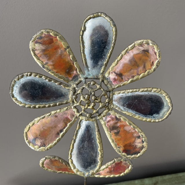 Cheerful brutalism? Here it is! Mixed metal flower sculpture believed to be Harold Monk. Signed.