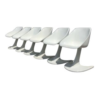 1960's Mid-Century Modern Star Trek Vladimir Kagan Style Fiberglass Dining Chairs - Set of 6