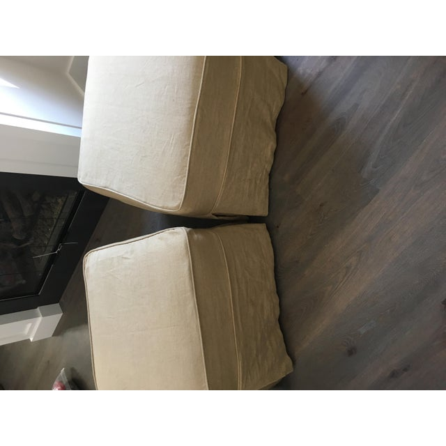 Linen Covered Ottomans - Pair - Image 5 of 6