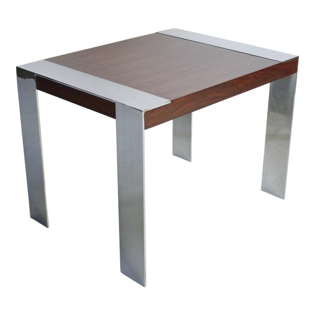 1970s Milo Baughman Rosewood and Chrome Side Table For Sale