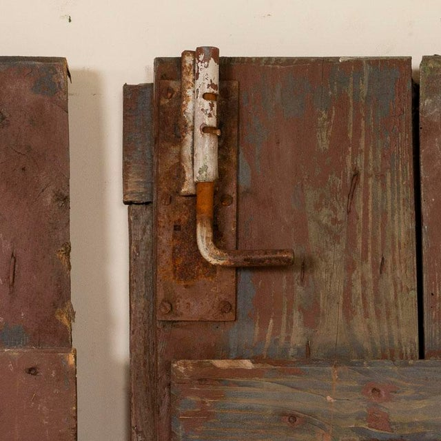 Mid 19th Century Antique Original Brown Painted Barn Doors - a Pair For Sale - Image 5 of 9