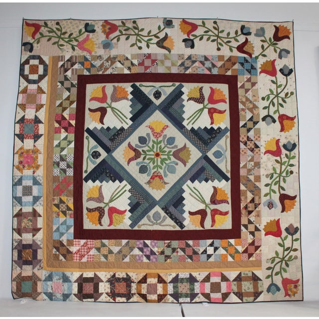 20th Century Amazing Center Star Medallion Quilt - Image 2 of 9