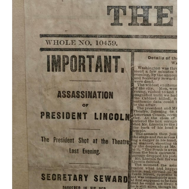 Photorealism Lincoln Assassination The New York Herald 15 April 1865 Front Page For Sale - Image 3 of 9