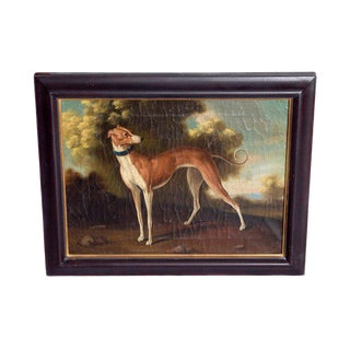 19th Century English Oil on Canvas of Whippet in a Landscape For Sale