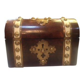 19th Century Antique English Burlwood Brass and Ivory Box For Sale