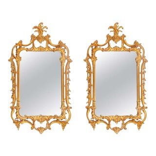 Pair of Louis XV Style Gilt Wall Console or Pier Mirrors With Beveled Glass For Sale