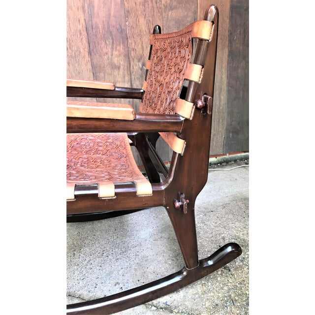 Brown Mid Century Angel Pazmino Sculptural Rosewood Rocking Chair For Sale - Image 8 of 10