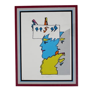 1971 Vintage Peter Max Mid Century Modern Framed Ap the Thought of God Proof, Signed Numbered For Sale