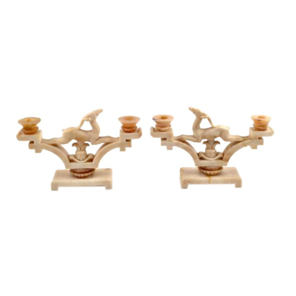 1920s Italian Art Deco Period Onyx Jumping Gazelle Candleholders - a Pair For Sale
