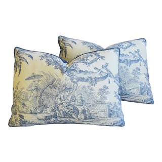 "Blue & White Designer Chinoiserie Toile Feather/Down Pillows 22"" X 16"" - Pair"