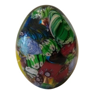 Vintage Eggshaped Murano Blown Glass Paperweight For Sale