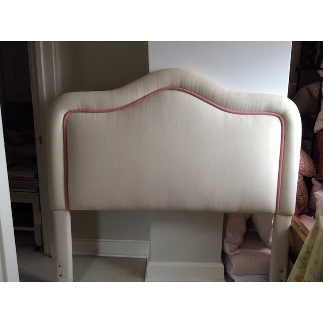 Custom Furniture Builders Pink & White Upholstered Headboard For Sale - Image 4 of 5
